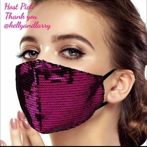 Accessories - Any 2 $30 Sparkling Fuchsia Sequin Face mask